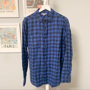 Uniqlo Blue, Black Check Flannel Shirt, XL